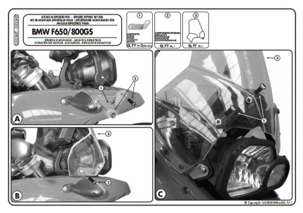 KAPPA D333KITK BMW F650GS - F800GS (08-17) RÜZGAR SİPERLİK BAĞLANTISI