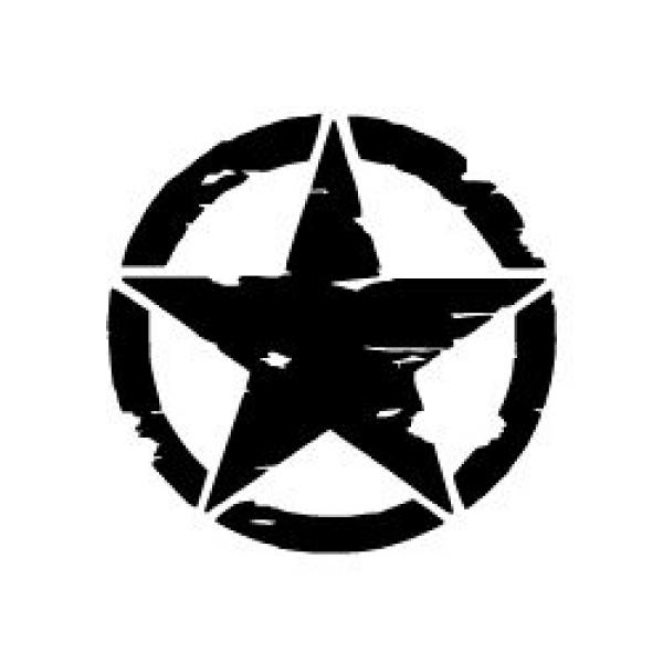 Mr.Sticker ARS8 Eskitilmiş Desenli Mat Asker Yıldızı Sticker