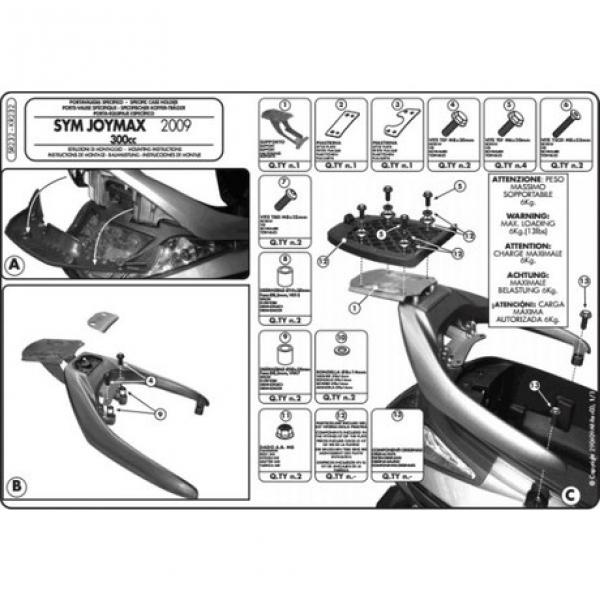 Kappa Kr2320 Sym Joymax (05-11) - Gts 250 (02-11) Arka Çanta Taşıyıcı