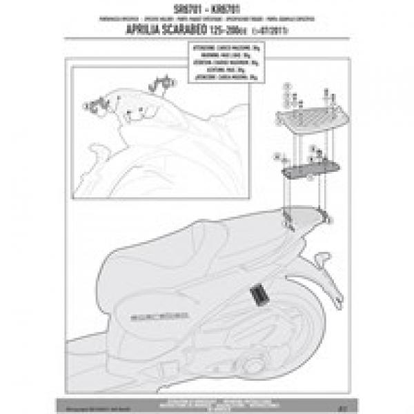 Givi Sr6701 Aprılıa Scarabeo 125-200 (11-16) Arka Çanta Taşıyıcı