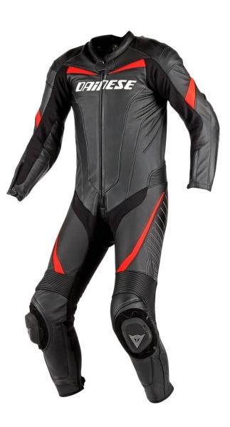 Dainese Racing Black Red Tek Parça Deri Tulum