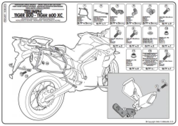 Triumph Tiger 800 / 800 XC / 800 XR (11 > 17) Yan Çanta Taşıyıcısı (Kappa KLR6401)